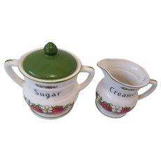 Strawberry Pattern Sugar & Creamer Japan
