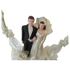 Mid Century Bride and Groom Wedding Cake Topper