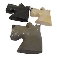 Three Scottie Dog Head Plaques for Wall