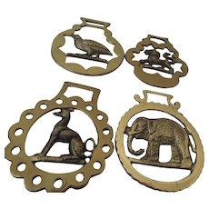 Four Horse Brass: Dog, Lion, Bird, Elephant England