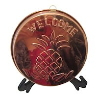 """""""Welcome"""" Copper Plaque with Pineapple for Kitchen"""