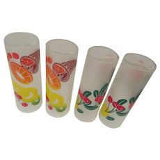 Four Federal Glass HiBall Glasses with Fruit and Frosted