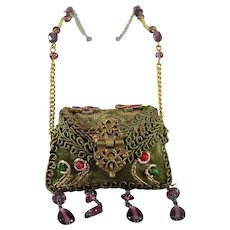 Gorgeous and Unusual Doll Purse Ornately Decorated for French Dolls Last Chance - Red Tag Sale Item