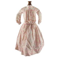 Antique Doll Dress Pink Seaweed Print with Woven Stripe Pigeon Breasted