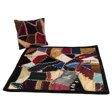 Antique Doll Size Crazy Quilt and Pillow One of a Kind - Last Chance