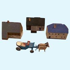 Erzebirge Putz Miniature Houses & Cart