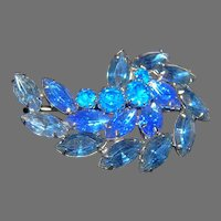 Unsigned Beauty Blue Slate Spray  Brooch