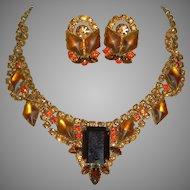 "Stunning Juliana Huge Rhinestone Necklace/Earrings with 2"" Drop"
