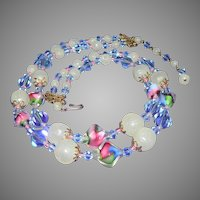 STUNNING Venetian Art Glass Beads 2 Strand Necklace.