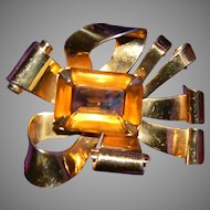 CORO Sterling Craft 40's Glass Bow Brooch