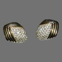 Stunning Vintage CINER Paved Set Rhinestone Earrings GORGEOUS!!!