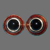 CINER Clip On Earrings-Bronze Enamel-Black Onyx Glass Cab Gold Tone Setting