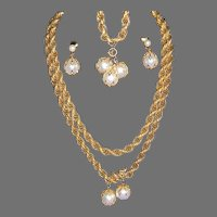 Fabulous Vintage Signed CELEBRITY Caged Faux Pearl Full Parure Necklace-Bracelet-Earrings