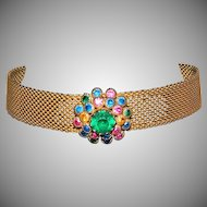 Vintage HOBE' Style Mesh Choker Necklace With 3 Dimensional, Layered Rhinestone Center Piece. Really Pretty!!!