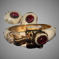 Incredible RARE Signed CINER Mogul Faux Ruby Cabochon, Enamel, and Rhinestone Hinged Elephant Bracelet & Matching Earrings