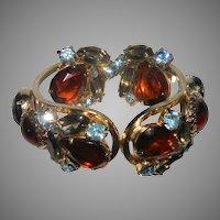 Vintage DeLizza & Elster Big & Bold Rhinestone Hinged Clamper Bracelet & Earrings BOOK PIECE!