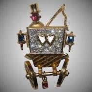 Signed Trifari Departing Honeymooners Rhinestone Double Heart Carriage Brooch