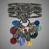 Signed NAPIER Ram's Head Charm Cuff/Bracelet  High Relief Detailed BOOK PIECE!!!