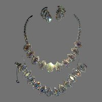 Vintage Signed Weiss Aurora Borealis Marquis Rhinestone Parure Necklace/Bracelet/Earrings. Absolutely Stunning!!!