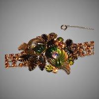 Signed EDLEE Green, Yellow & Topaz Nautilus Molded Art Glass and Rhinestone Bracelet