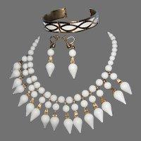 Vintage NAPIER Milk White  Lucite with Gilt Gold Tone Accents 2-Tier Dangle Bib Necklace Demi  Necklace/Earrings & Matching Bracelet