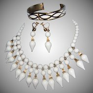 Vintage NAPIER Milk White  Lucite with Gilt Gold Tone Accents 2-Tier Dangle Bib Necklace Demi  Necklace/Earrings & Matching Bracelet