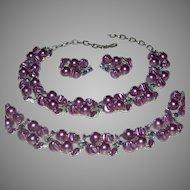 Vintage 3 Piece Signed Lisner Purple Faux Pearl, Peacock Color Rhinestone, and Enamel Parure Necklace, Bracelet, & Clip On Earrings