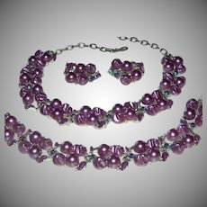 Vintage 3 Piece Signed Lisner Purple Faux Pearl, Peacock Color Rhinestone, and Enamel Parure Necklace, Bracelet, & Clip On Earrings