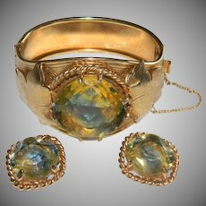 Vintage Sarah Coventry VERSAILLES Art Glass Hinged Bracelet and Matching Clip on Earrings Demi Parure.