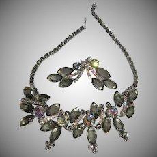 "D&E Juliana HUGE Grey ""Black Diamond"" Rhinestone Demi Parure Necklace & Clip On Earrings BOOK PIECE!"