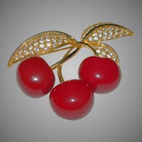 Signed JOAN RIVERS Cherry and Rhinestone Pin