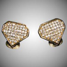 Vintage Designer Christian Dior Pave Set With Swarovski Crystals Clip On Earrings