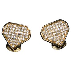 Vintage Designer Christian Dior Pave Set With Swarovski Crystals Clip On Earrings