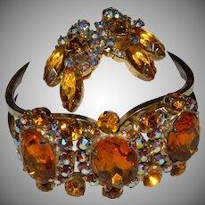 Juliana Gorgeous Huge Amber/Topaz Aurora Borealis Rhinestone Vintage Clamper Bracelet and Earrings Set