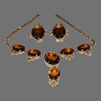 Vintage HUGE Rootbeer & Aurora Borealis Rhinestone Demi Drop Necklace and Clip On Earrings
