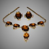 Vintage HUGE Rootbeer & Aurora Borealis Rhinestone Demi Drop Necklace and Clip On Earrings