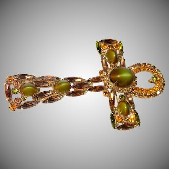 Vintage D&E For ALICE CAVINESS Large Brooch/Pin Or Pendant ANKH CROSS Green Cat Eye---------This Particular Style is HTF-------