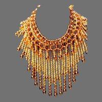 Vintage Signed IAN ST GEILER Egyptian/Cleopatra MASSIVE Crystal Glass Amber/Topaz Drippy Bib Necklace MASSIVE 404Gms. STUNNING!!