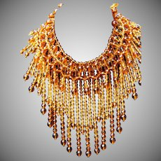 Vintage Signed IAN ST GEILER Egyptian/Cleopatra MASSIVE Crystal Glass Amber/Topaz Drippy Bib Necklace MASSIVE 404Gms. STUNNING!!