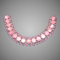 Vintage 1950's Pink Glass Moonstone Cat Eye & Pink Rhinestone Bracelet