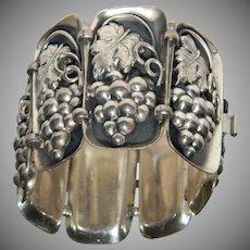 Vintage Signed NAPIER Silver Plate Grape Leaf Motif Panel Bracelet.  BOOK PIECE!!!