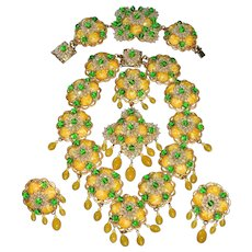 Rare!  Magnificent Vintage Signed: Stanley Hagler N.Y.C. Massive Lemon/Lime FULL Parure. One Of A Kind!!!! Beautiful and Stunning!!!