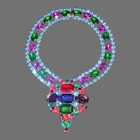 Vintage Massive Runway Haute'  Couture Multi Faceted Rhinestone Statement Necklace Vivid Colors STUNNING!!!