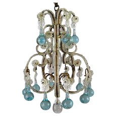 Petite Vintage Beaded Birdcage Chandelier Aqua Blue Prisms Powder Room Italian