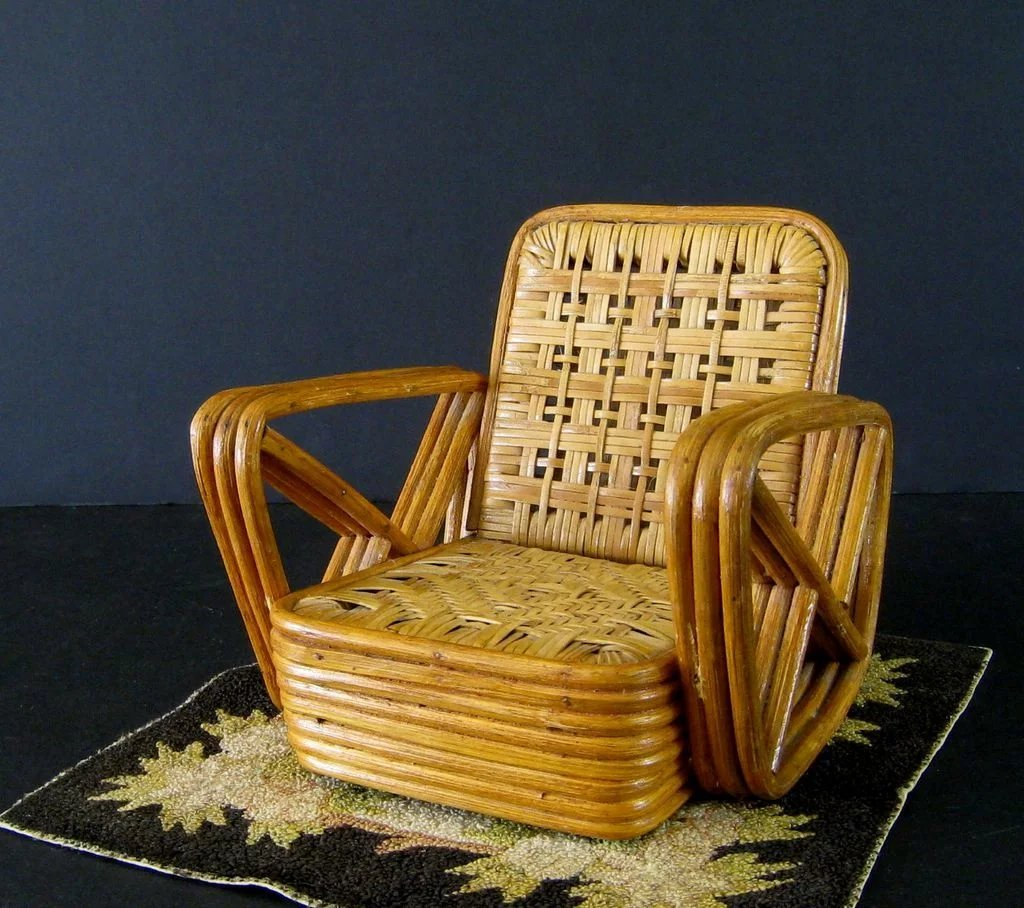 Tiny House Furniture >> Paul Frankl Salesman Sample Rattan Furniture c.1950 Vintage Miniature : Stone House Antiques ...
