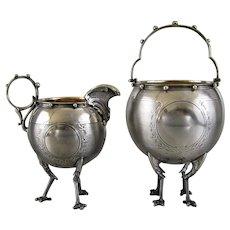 Antique Gorham Coin Silver Sugar Basket & Creamer c.1860 Chicken Leg