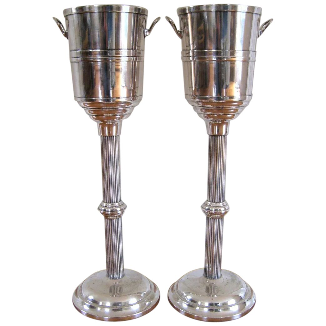 Pair Vintage Champagne Cooler On Stand Hotel Silver Plate