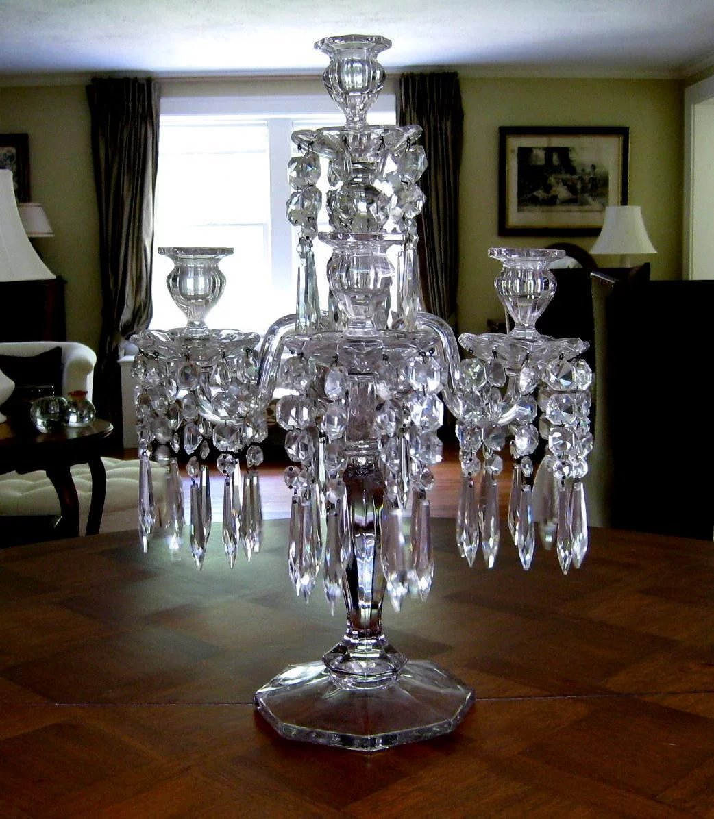 Victorian 5 Light Glass Candelabra Prisms C1900 Antique