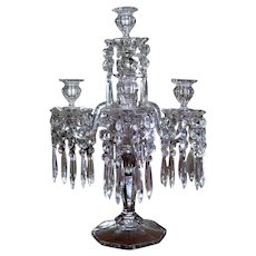 Victorian 5 Light Glass Candelabra Prisms c1900 Antique Girandole Five Arm Crystal Luster Candlestick