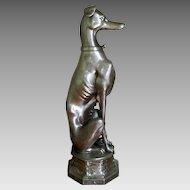 "31"" Tall Bronze Greyhound Dog Statue Vintage Brass Whippet"